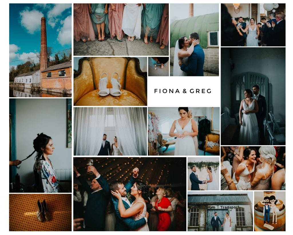 Collage of Fiona and Greg's wedding photos at The Millhouse in Slane