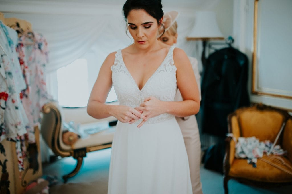bride getting ready at the Millhouse in Slane