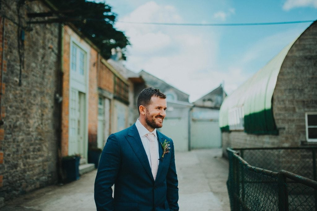 groom waiting on his bride at the Millhouse Slane