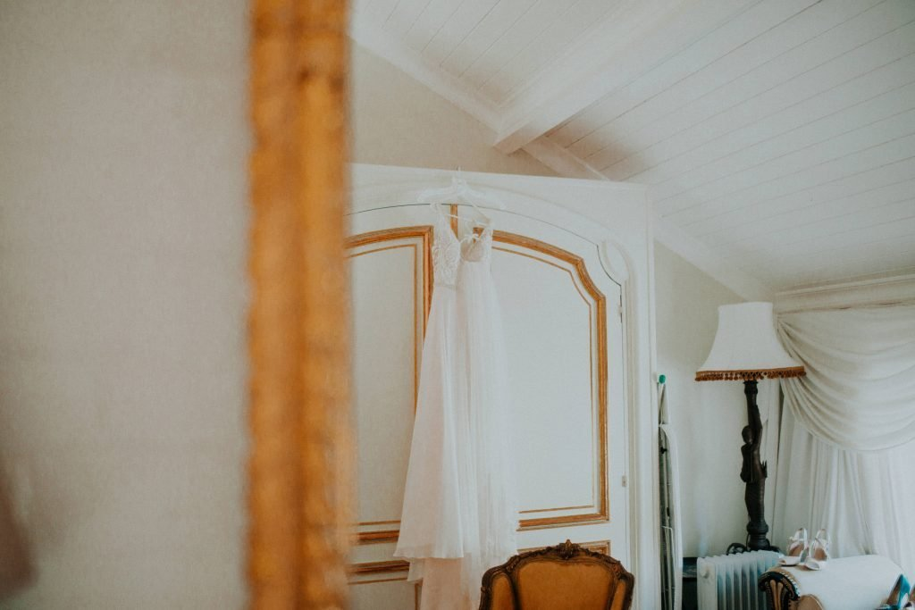 wedding dress hanging on wardrobe at the Millhouse in Slane