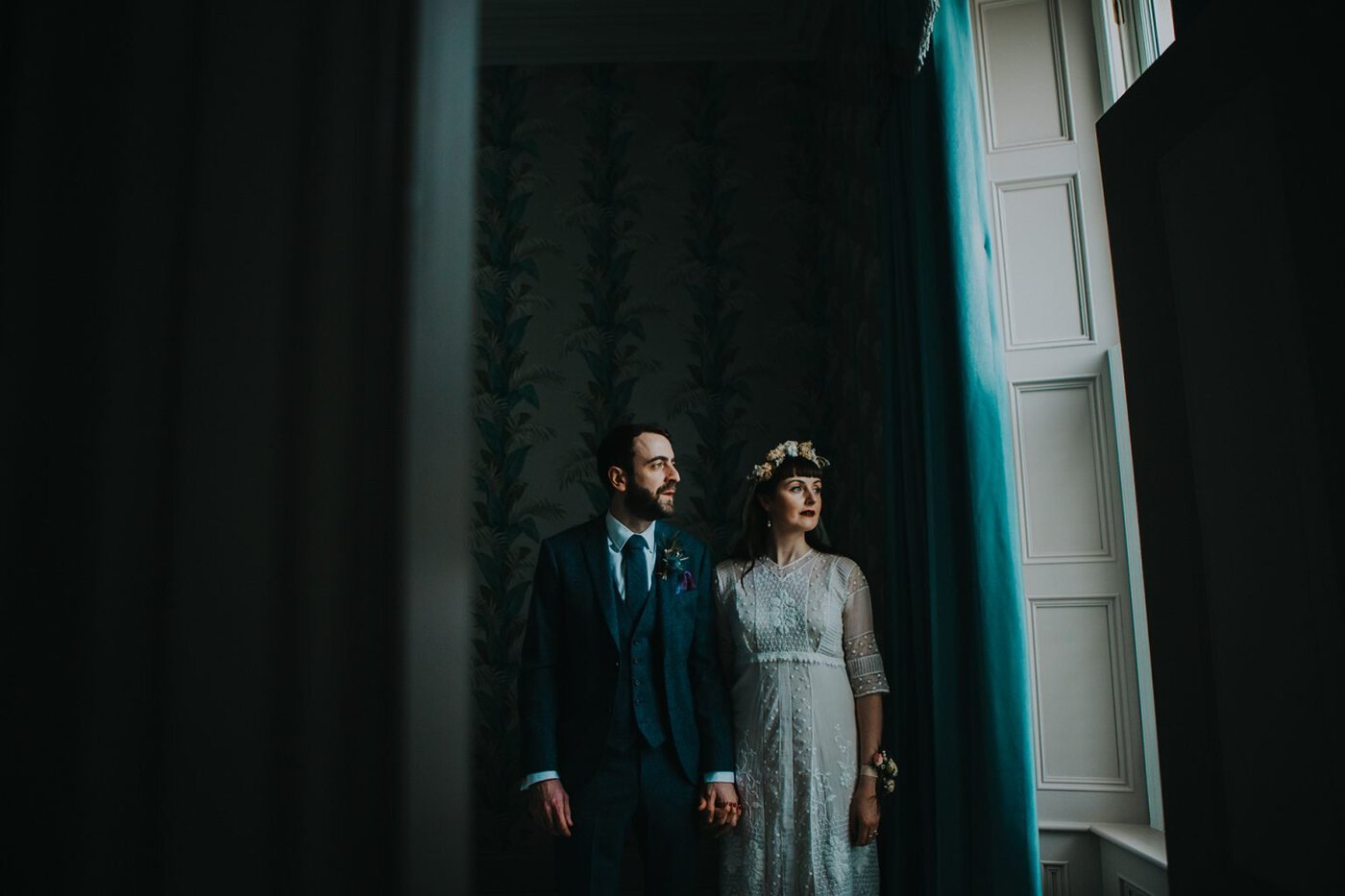 married couple pose for wedding photographs in Greyabbey near Orange Tree House