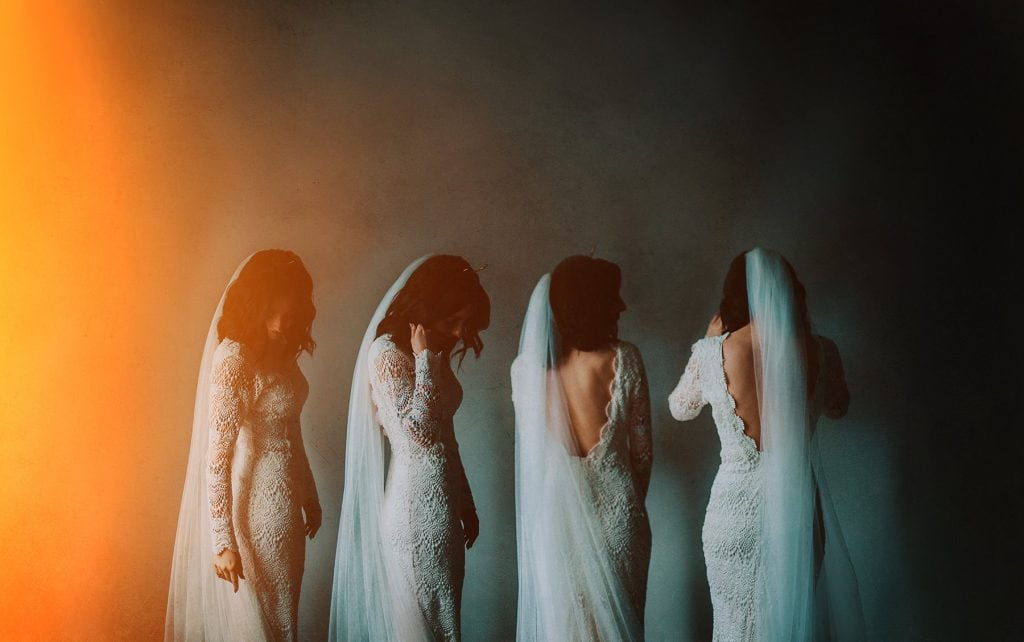 multiple exposures of bride in Daughters of Simone Wedding Dress. In Derry in Northern Ireland