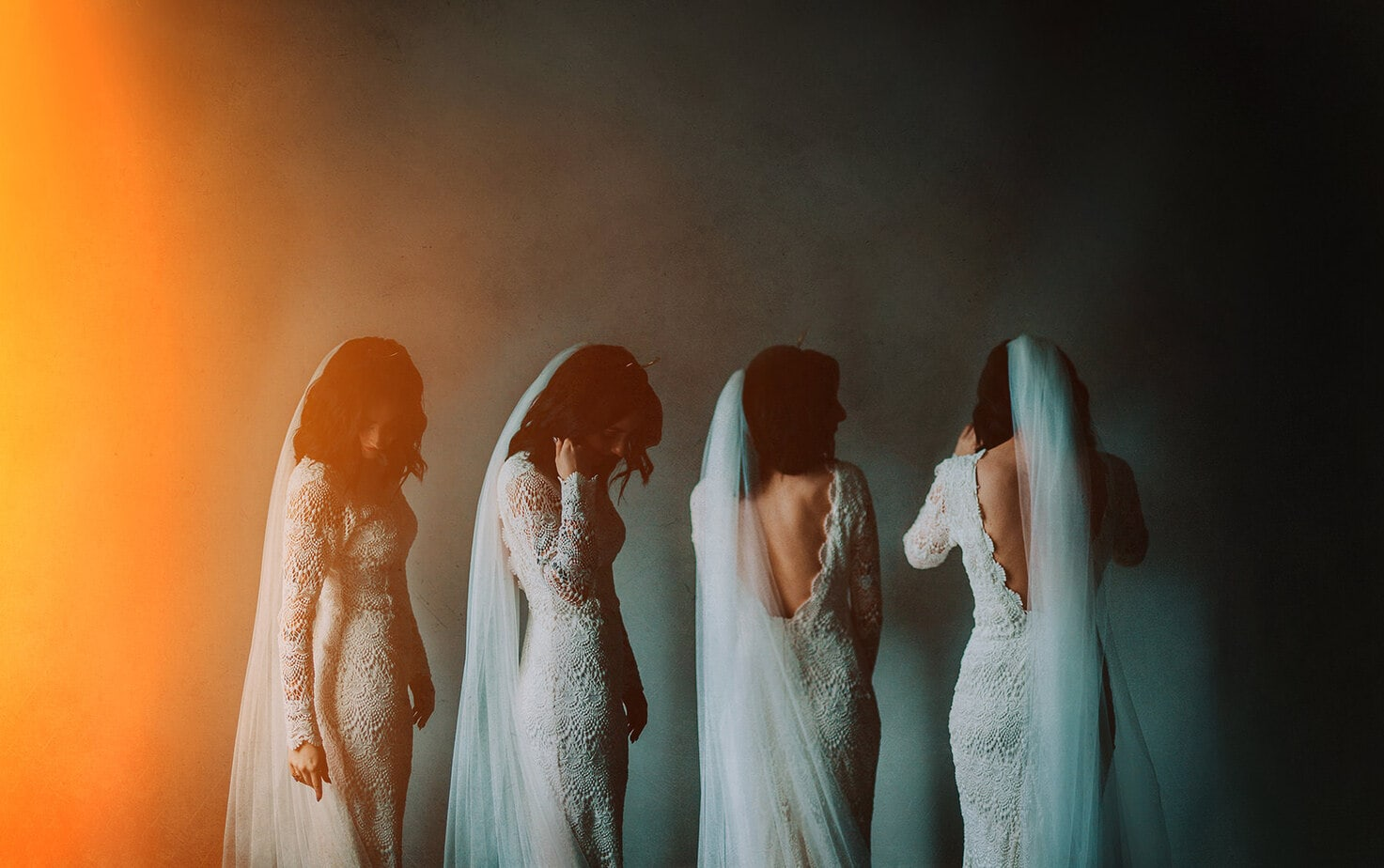 multiple exposures of bride in Daughters of Simone Wedding Dress. In Derry in Northern Ireland