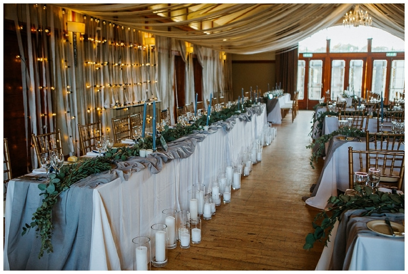 wedding reception room at Lusty Beg Island with beautiful candles and ribbons on the tables