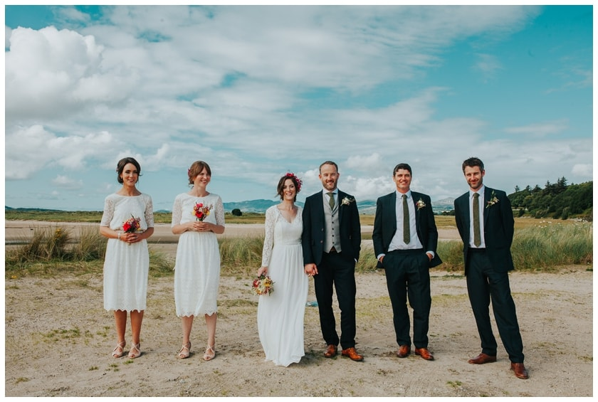 Bridal party stand on Fahan beach