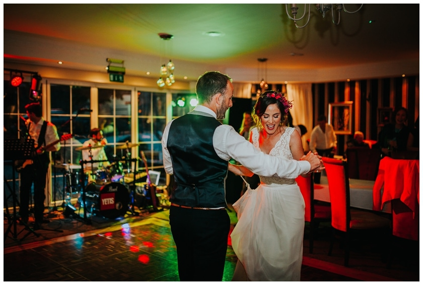 Bride and groom Dance their first dance at the red door in Fahan