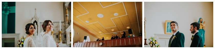 A wide angle view of the church choir singing against a yellow roof backdrop