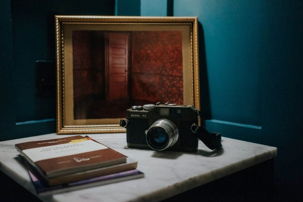 vintage camera on a nightstand in the Dean Hotel in Dublin