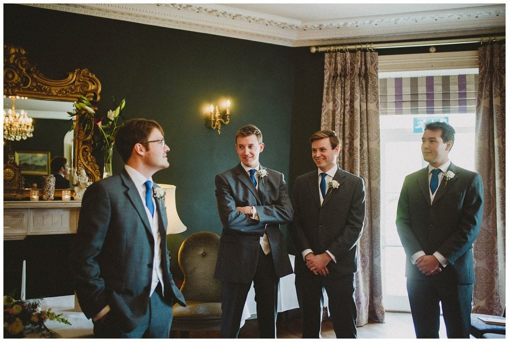 groom and groomsmen wait for the bride at Castle Grove Country House