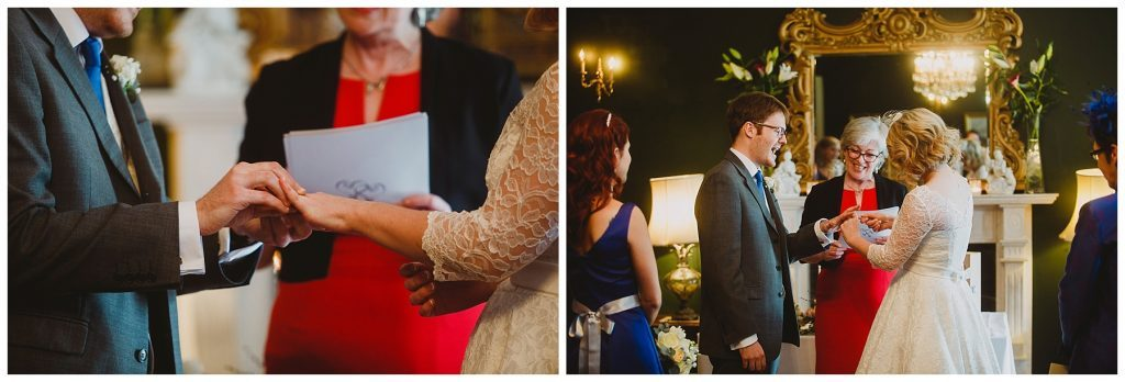 bride and groom exchange rings at Castle Grove Country House