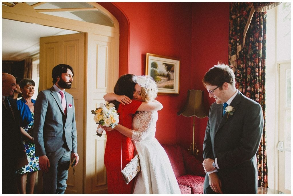 bridge hugs her guests at Castle Grove Country House