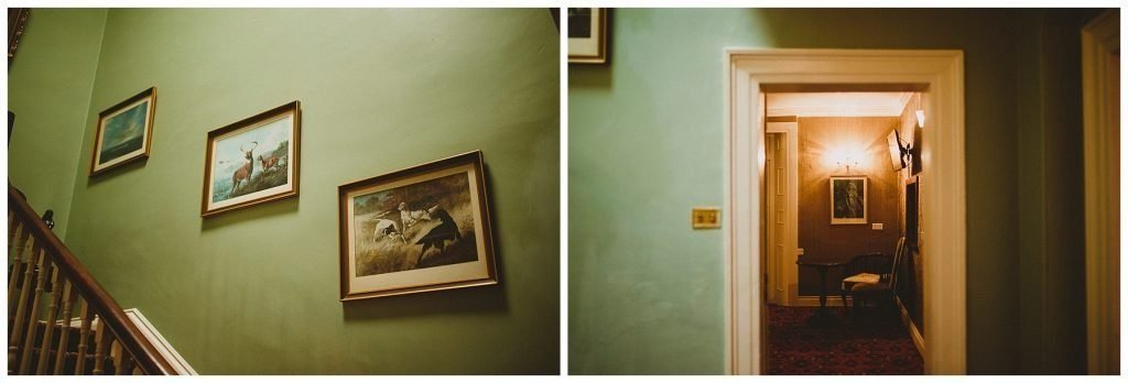 pictures of dear on wall by stairs at Castle Grove Country House